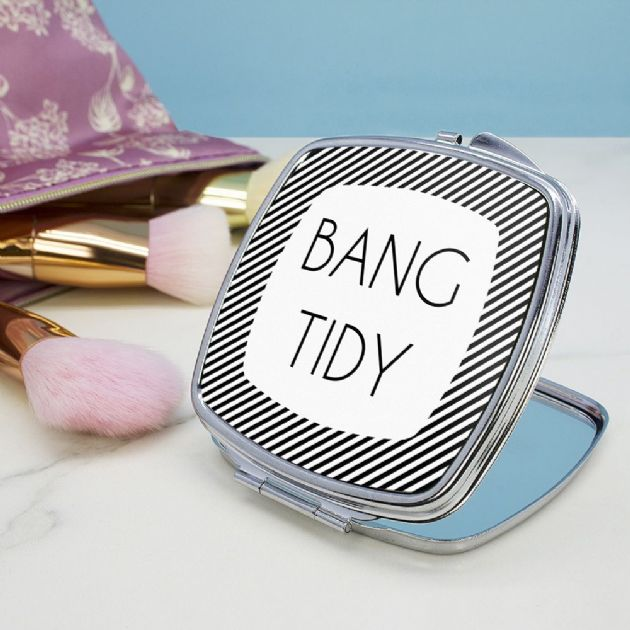 The Totally Flattering Personalised Square Compact Mirror